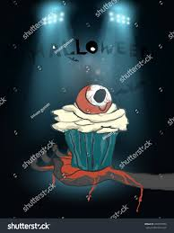 halloween party background delicious eye zombie cupcake blood on stock vector 709572094