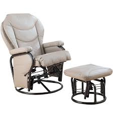 Faux Leather Recliner Coaster Faux Leather Recliner Glider Chair With Ottoman In Solid