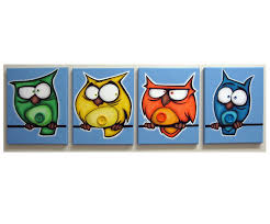belly button birds set of 4 8x10 original acrylic paintings on