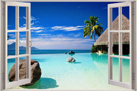 window wall murals huge 3d window exotic ocean beach view wall stickers film decal wallpaper