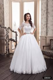 wedding dresses eb022 gown wedding dress with an illusion neckline and lace