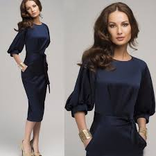 women casual office lady formal party evening cocktail midi