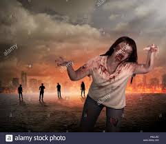 halloween nature background scary female zombie with burning city background halloween