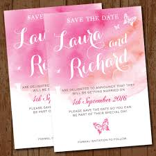 wedding save the date cards watercolour pink butterflies wedding save the date elisa by design