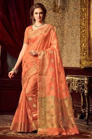 dazzling peach color traditional saree in uppada silk fabric from