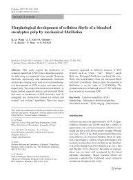morphological development of cellulose nanofibrils cnf of a