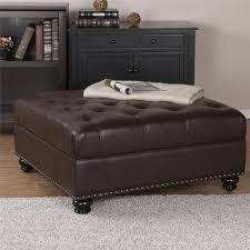 Brown Ottoman Simpli Home Lacey Distressed Saddle Brown Air Leather Ottoman