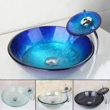 bathroom sink and faucet combo bathroom round vessel sink faucet combo set tempered glass mixer