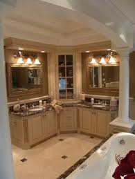 L Shaped Bathroom Vanity by Corner Bathroom Sink Vanity With Some Light And Also Double Mirror