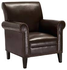 Brown Leather Accent Chair Brown Leather Accent Chair Transitional Armchairs And Accent