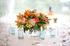 flower table flowers melanie benson floral design orange send table