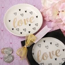 chagne wedding favors white ceramic jewelry change dish favors and engagement