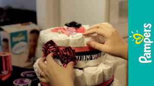 how to make a diaper cake pampers baby shower ideas youtube