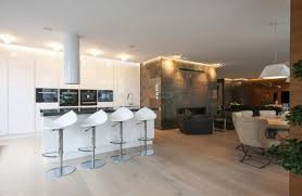 White Cabinets Granite Countertops Kitchen Furniture Black Leather Upholstery Modern Bar Stools Kitchen With