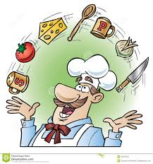 Kitchen Utensils And Tools by Chef Juggling Kitchen Utensils And Food Items Royalty Free Stock
