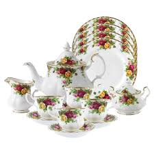 royal albert collection country roses bone china tea set