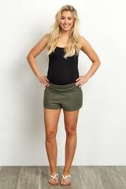 maternity shorts olive linen foldover waistband maternity shorts