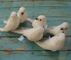 artificial birds six decorative white birds on clips craft