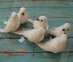 artificial birds six decorative white birds on clips craft