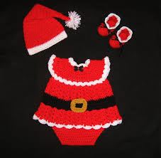 baby crochet santa diaper dress set christmas baby set santa