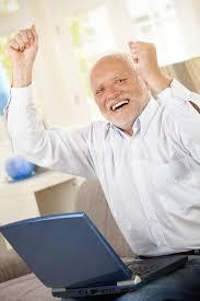 Old Guy Meme - old man celebrating with laptop stock photo image of good camera