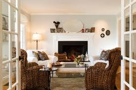 bright slipcovered sofas in living room contemporary with curved