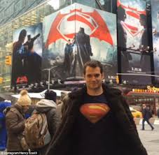 henry cavill wears superman shirt times square billboard