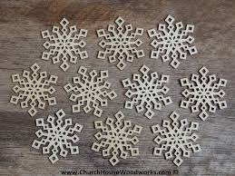 3 inch snowflake wood christmas ornaments 10 pack style 2