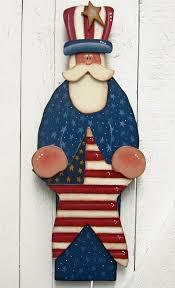 Patriotic Garden Decor Uncle Sam 4th Of July Door Hanger Yard Sign Yard Art Painted Wood