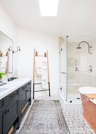 Two Tone Bathroom Dark Gray Dual Bath Vanity With Brass And Glass Sconces