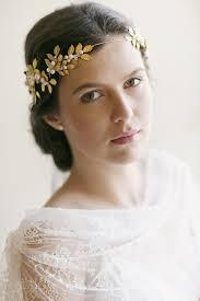 gold leaf headband vintage wedding inspiration leaves pearls and gold