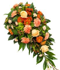 funeral flower orange single ended spray delivered with care designed with