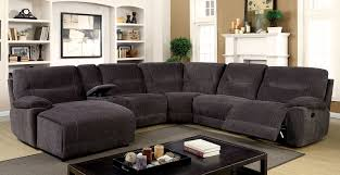 Sectional Sofas With Recliners And Cup Holders Karlee Ii Transitional Style Gray Chenille Fabric Sectional