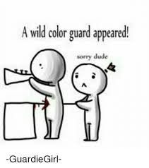 Color Guard Memes - a wild color guard appeared sorry dude guardiegirl dude meme
