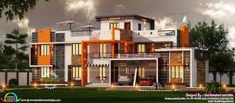 luxury wide home plan in contemporary style kerala home design