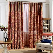 Floral Jacquard Curtains Red Floral Jacquard Chenille Living Room Curtains In Vintage Style