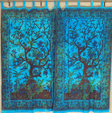 Sari Fabric Curtains India Door Curtain Cotton Tree Of 2 Fabric Tab Top