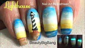 lighthouse nail art tutorial with beautybigbang glow powder