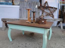 Beach Shabby Chic by Vintage Wooden Oak Coffee Table Table In Distressed Seafoam Green