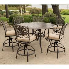 Patio High Dining Set - traditions 7 piece high dining bar set in tan with 56 in cast top