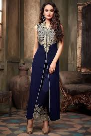 navy blue long jacket style suit with embellished pants from