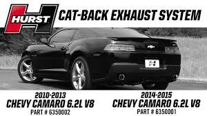hurst elite series cat back exhaust systems 2010 2015 camaro ss