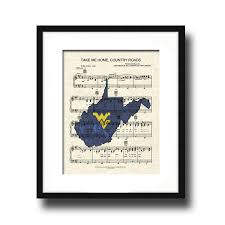 Wvu Home Decor Take Me Home Country Roads Wv Theme Song West Virginia