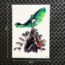 merak hijau toko online 1 pc 3d merak hijau daun teratai burung stiker tato