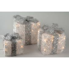 white illuminating gift boxes with silver bow christmas lights