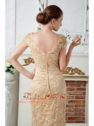 champagne column v neck lace and embroidery mother of the bride