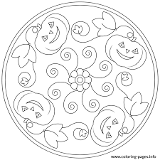Halloween Mandala Pumpkins Flowers Coloring Pages Printable Mandala Flowers Coloring Pages