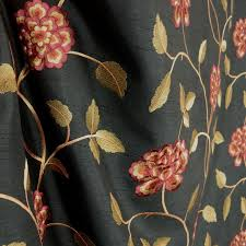 Black Drapery Fabric Isabella Black Red Floral Poly Black Fabric Traditional