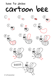 how to draw cartoon bee easy drawing step by step perfect for