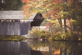 in fall covered bridge with autumn leaves free stock photo public domain